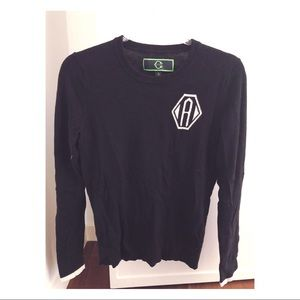 C. Wonder letter A sweater. Black & white. Small